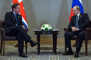 David Cameron holds a meeting with Russian President Vladimir Putin at the G20 Turkey Leaders Summit in Antalya, Turkey in 2015 (Stefan Rousseau/PA)