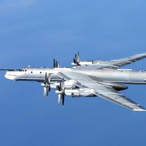 A Russian Tu-95 Bear H photographed by an RAF Typhoon from 6 Squadron at RAF Leuchars in Scotland on Wednesday (MoD)