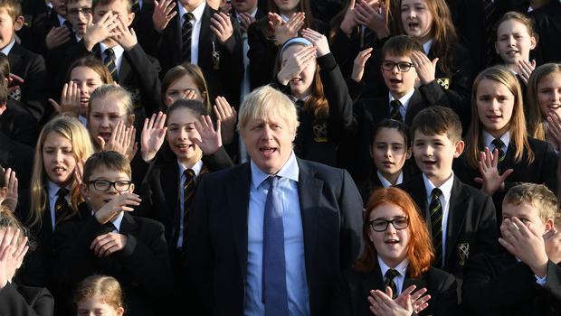 Boris Johnson carried out a visit to Chulmleigh College in Devon (Stefan Rousseau/PA)