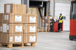 About 300 ventilators from China arriving at a Ministry of Defence logistics base in Shropshire, on April 4 (Sgt Ben Beale/MoD/Crown Copyright/PA)