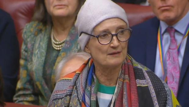 Dame Tessa Jowell speaking in the House of Lords about cancer treatment (PA)
