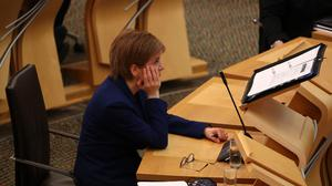 First Minister Nicola Sturgeon in the Scottish Parliament (Andrew Milligan/PA)