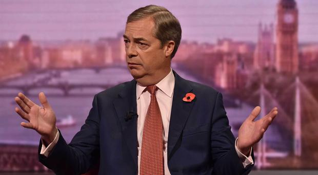 Nigel Farage appearing on The Andrew Marr Show (Jeff Overs/BBC/PA)