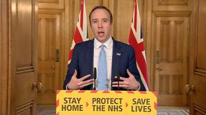 Screen grab of Health Secretary Matt Hancock who has tested positive for coronavirus, answering questions from the media via a video link during a media briefing in Downing Street, London, on coronavirus (COVID-19) (PA Video).