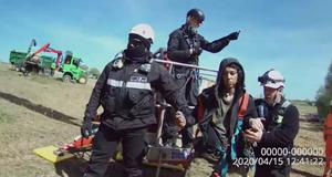 Anti-HS2 protester Elliott Cuciurean being arrested at Crackley Woods, in April 2020. (HS2 Ltd/PA)