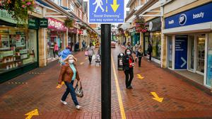 One way systems are in place around shops in Caerphilly centre (Ben Birchall/PA)