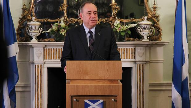 Alex Salmond as he issued a statement at Bute House that he would be standing down as first minister after the 2014 referendum defeat (Scottish Government/PA)