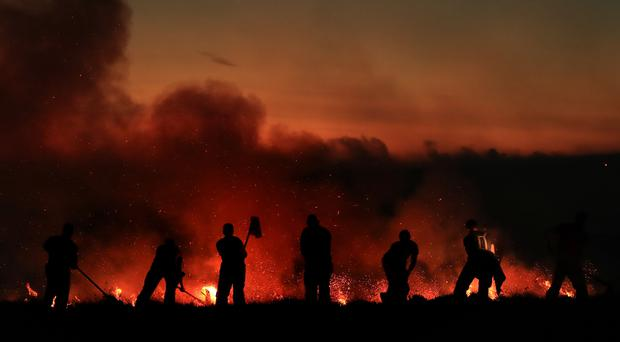 Union leaders highlighted the rising numbers of wildfires (Danny Lawson/PA)