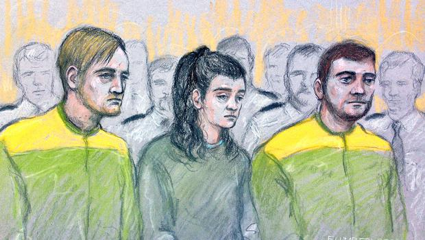 File court artist sketch by Elizabeth Cook dated 15/12/17 of Zak Bolland, Courtney Brierley and David Worrall (Elizabeth Cook/PA)
