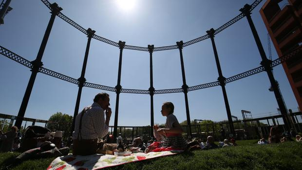 Gasholder Park in King's Cross provided a suitably retro setting for the Tweed Run (Jonathan Brady/PA)