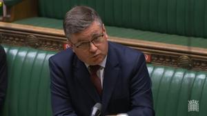 Justice Secretary Robert Buckland speaking in the House of Commons on reforms to probation services in England and Wales (House of Commons/PA)