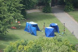 Police tents in Forbury Gardens in Reading town centre (Jonathan Brady/PA)