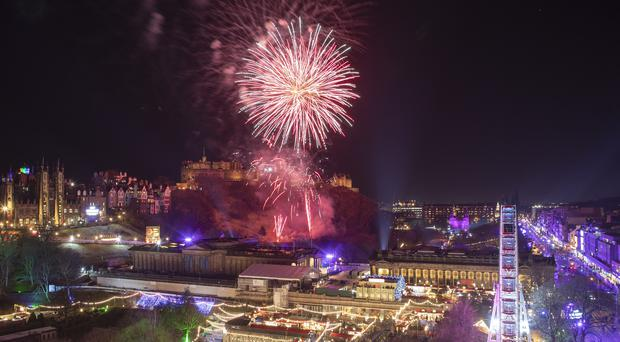 Fireworks are let off from Edinburgh Castle (Jane Barlow/PA)
