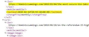 Mr Cummings' website data shows an edit to the blog post on April 14 (Screen grab/dominiccummings.com)