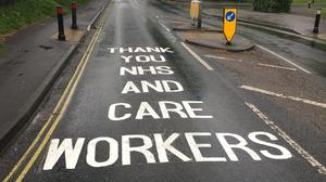 Messages of support are being painted outside hospitals and care homes in Hampshire (Hampshire County Council/PA)