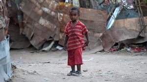 A child in an area hit by famine. (Joe Giddens/PA)