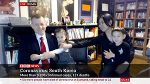 Professor Robert E Kelly and his family made a BBC World appearance live from Busan (BBC/PA)