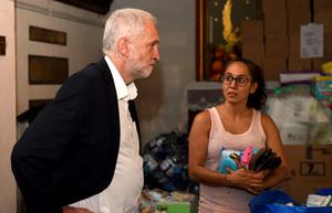 Jeremy Corbyn meets staff and volunteers at St Clement's Church (David Mirzoeff/PA)