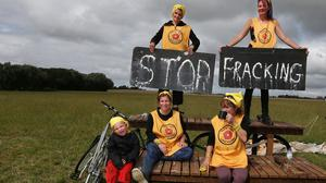 Anti-fracking protesters at the site near Little Plumpton