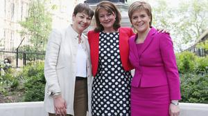 Nicola Sturgeon (right) with Green Party MP Caroline Lucas (left) and former Plaid Cymru leader Leanne Wood (Rick Findler/PA)