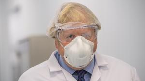 Prime Minister Boris Johnson visiting the French biotechnology laboratory Valneva in Livingston (Wattie Cheung/Daily Mail/PA)