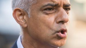 """Mayor of London Sadiq Khan said Theresa May should be """"utterly ashamed"""" of her record on law and order (Dominic Lipinski/PA)"""