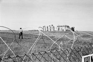 Barbed wire preventing people from reaching Stonehenge in 1985 after a pop festival was banned (PA)