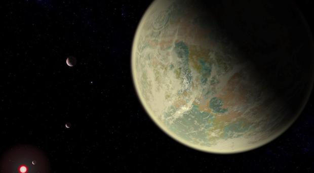 Conceptual image of a water-bearing exoplanet with an oxygen-rich atmosphere (NASA/GSFC/Friedlander-Griswold/PA)