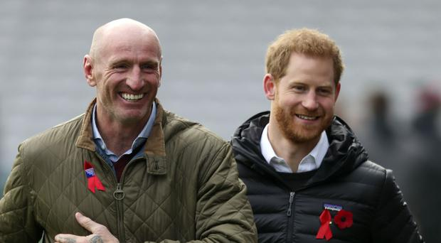 Gareth Thomas and the Duke of Sussex (Steve Parsons/PA)