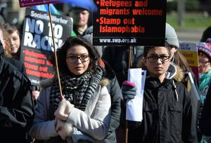 People take part in the anti-racism rally in Glasgow organised by Stand up to Racism Scotland (Mark Runnacles/PA)