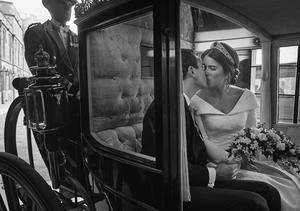 The couple shared a kiss in the carriage (Alex Bramall/PA)