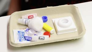 An HIV test kit, as scientists search for a cure for the virus