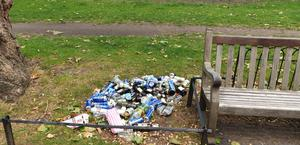 Cans, bottles and plastic cups left in St James' Park, central London, in June 2020 (The Royal Parks/PA).