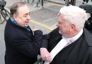 Gordon Jackson QC (right) and Alex Salmond at the conclusion of the trial (Andrew Milligan/PA)