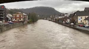 High water levels in Pontypridd, South Wales, following heavy rainfall in the area (@mimosacymru)