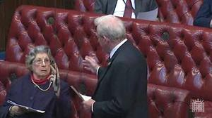Baroness Trumpington flicks a V-sign at Lord King in a debate in the House of Lords on November 10 2011 (Parliament.tv/PA)
