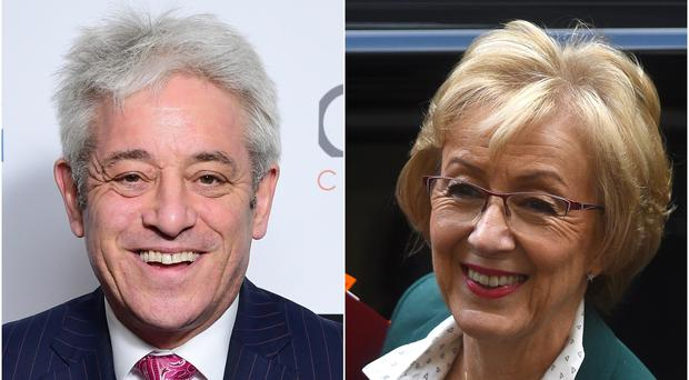 John Bercow and Andrea Leadsom (Ian West/Kirsty O'Connor/PA)