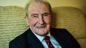 "George ""Johnny"" Johnson, 95, the last surviving British Dambuster (Ben Birchall/PA)"