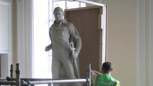 The statue of slave owner Sir Thomas Picton was boarded up at Cardiff City Hall following a vote to remove it (Cardiff Council)