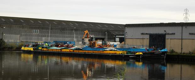 The 50-year-old barge Farndale H moored at the Knostrop Depot, in Leeds (Maik Brown/PA)