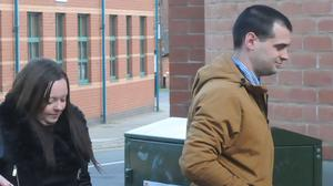 Emma Cole and Luke Morgan arriving at Stafford Crown Court, where they have been jailed over the death their nine-week-old son Tyler (PA)