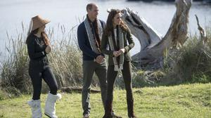 The Duke and Duchess of Cambridge are welcomed to the Haida Heritage Centre and Museum at Kaay Llnagaay on the island of Haida Gwaii, British Columbia