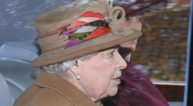 The Queen arrives to attend a morning church service at St Mary Magdalene Church in Sandringham (Joe Giddens/PA)
