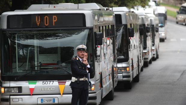 Buses at Villa Borghese where Liverpool fans assembled before being transported to the stadium (Steve Parsons/PA)
