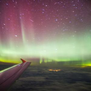 The Northern Lights as seen from a BA flight, chartered by Aerobility, a charity that gives people with disability the chance to fly.