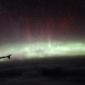 The Northern Lights, as seen from a BA flight chartered by Aerobility, a charity that gives people with disability the chance to fly.