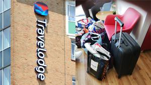 A Travelodge sign, and Sharon Chambers' daughter's belongings in a foyer(Nick Ansell/Sharon Chambers/PA)