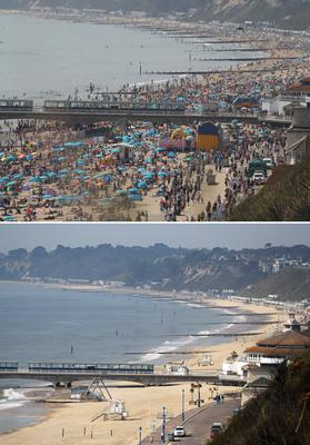 Then and now – scenes from Bournemouth beach (Andrew Matthews/PA)