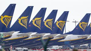 Ryanair jets parked up on the runway of Dublin airport (Niall Carson/PA)