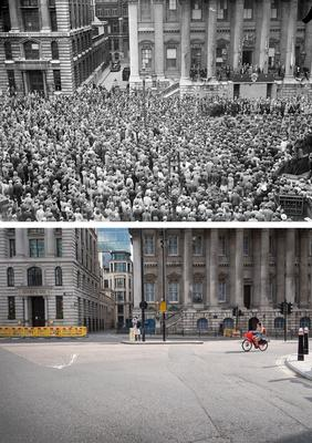Huge crowds at Mansion House, with the Lord Mayor of London on the balcony, in 1945 – and sparse scenes today (PA)